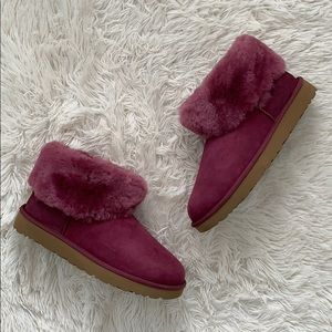 UGG classic mini fluff genuine shearling boot